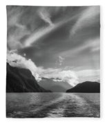 Dramatic Clouds And Alpine Scenery At Lake Manapouri  Fleece Blanket
