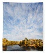 Dramatic Clouds Over Boise River In Boise Idaho Fleece Blanket