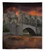 Dramatic Sky Over Castell Conwy Fleece Blanket
