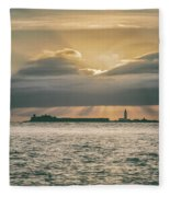 Dramatic Sky Over Hurst Castle Fleece Blanket
