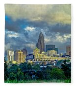 Dramatic Sky With Clouds Over Charlotte Skyline Fleece Blanket