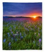 Dramatic Spring Sunrise At Camas Prairie Idaho Usa Fleece Blanket