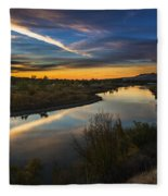 Dramatic Sunset Over Boise River Boise Idaho Fleece Blanket