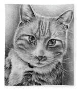 Drawing Of A Cat In Black And White Fleece Blanket