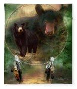 Dream Catcher - Spirit Of The Black Bear Fleece Blanket