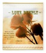 Dreams In Roses - Vintage - Verse Fleece Blanket
