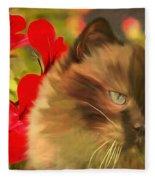 Dreamy Cat With Geranium 2015 Fleece Blanket