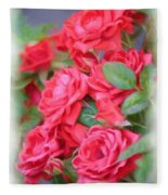 Dreamy Red Roses - Digital Art Fleece Blanket