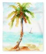 Dreamy Tropical Beach Palm Fleece Blanket