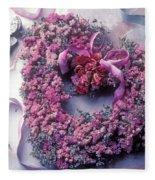 Dried Flower Heart Wreath Fleece Blanket