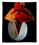 Composition With Dried Flowers Red Hat. Fleece Blanket