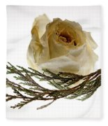 Dried White Rose Fleece Blanket