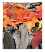 Driftwood Autumn Leaves Art Prints Baslee Troutman Fleece Blanket