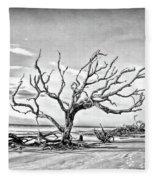 Driftwood Beach - Black And White Fleece Blanket