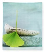 Driftwood Stones And A Gingko Leaf Fleece Blanket