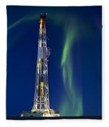 Drilling Rig Saskatchewan Fleece Blanket