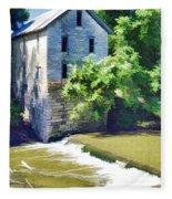 Drinkwater And Schriver Mill Cedar Point Kansas  Fleece Blanket