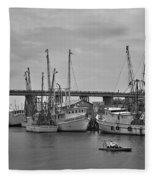 Drive By Tybee Island Shrimp Boat Art Fleece Blanket