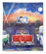 Drive-in Movie Theater Fleece Blanket
