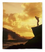 Driving Off A Cliff Fleece Blanket