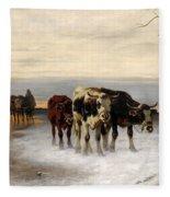 Driving The Herd Home In Wintry Landscape Fleece Blanket