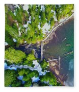 Drone Shot Of Lake 22 Bridge Fleece Blanket