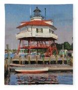 Drum Point Lighthouse Fleece Blanket