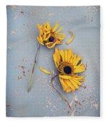 Dry Sunflowers On Blue Fleece Blanket