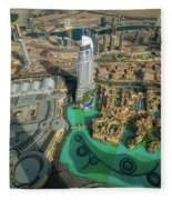 Dubai Downtown Aerial View By Sunset, Dubai, United Arab Emirates Fleece Blanket