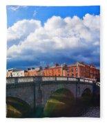 Dublin's Fairytales Around Grattan Bridge V2 Fleece Blanket