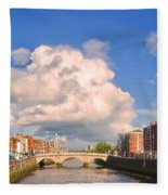 Dublin's Fairytales Around  River Liffey Fleece Blanket