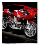 Ducati Mhe And Ferrari Fleece Blanket