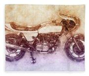 Ducati Supersport 2 - Sports Bike - 1975 - Motorcycle Poster - Automotive Art Fleece Blanket
