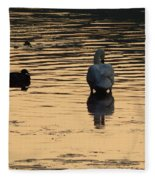 Duck And Swan At Sunrise Fleece Blanket
