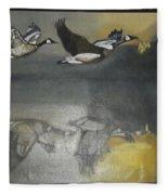 Duck Are Flying On The Sea Side Fleece Blanket