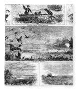 Duck Hunting, 1868 Fleece Blanket