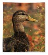 Duck In Autumn Fleece Blanket