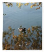 Duck On Golden Pond Fleece Blanket