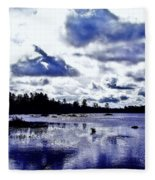 Duck Soars Little Togus Pond Storm Clouds Augusta Fleece Blanket