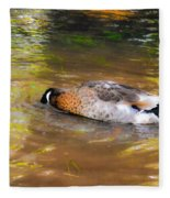 Duck Submerge It Head Into The Water Looking For Food In The River 2 Fleece Blanket