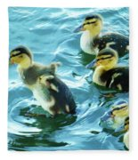 Ducklings Digital Water Color Fleece Blanket