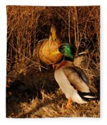 Ducks At Dusk Fleece Blanket