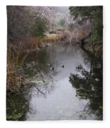 Ducks From The Bridge Fleece Blanket