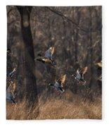Ducks In Flight Fleece Blanket