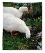 Ducks In The Garden At The Shipwright's Cafe Fleece Blanket