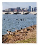 Ducks Of The Potomac Fleece Blanket