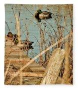 Ducks On A Pond Fleece Blanket