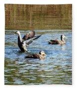 Ducks On Colorful Pond Fleece Blanket