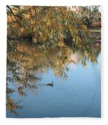 Ducks On Peaceful Autumn Pond Fleece Blanket