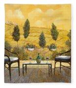 due bicchieri di Chianti Fleece Blanket by Guido Borelli